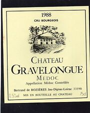 MEDOC VIEILLE ETIQUETTE CHATEAU GRAVELONGUE 1988 75 CL                 §29/01§