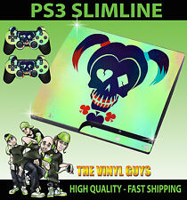 PLAYSTATION PS3 SLIM STICKER HARLEY QUINN SUICIDE SQUAD LOGO SKIN & 2 PAD SKINS