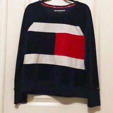 Tommy Hilfiger Sport Womens Logo Sweatshirt Velour Red Size Large