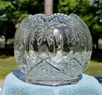 """4"""" Clear CAMBRIDGE Butterfly & Wheat Pattern Glass ROSE BOWL VASE Antique"""