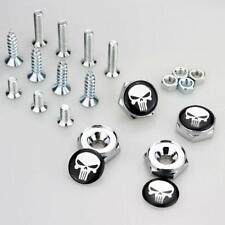 Universal Chrome License Plate Frame Screw Bolt Caps Cover Skull Punisher Emblem