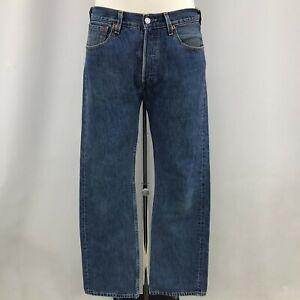 Levi's Jeans Men's W32 L32 Blue Cotton Denim 501 Casual Straight Trousers 111273