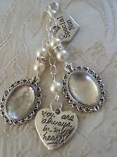 Vintage Inspired Ivory & Crystal Double Bouquet Nan Photo Charm Wedding/Bridal