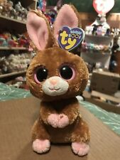 """Ty HOPSON -Brown/Pink MWMTs Easter Rabbit 6"""" Beanie Boo! *Retired* RARE & VHTF!!"""
