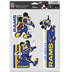 LOS ANGELES RAMS MICKEY MOUSE 3 PIECE MULTI-USE DECALS DISNEY NFL LICENSED