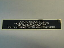 Jack Nicklaus Nameplate For A 1962 US Open Golf Flag / Bal Display Case 1.25X6