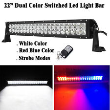 "Dual Color White / Red Blue Switched Strobe 22"" LED Light Bar Offroad Warning"
