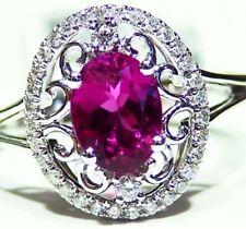 Vintage 1.35CT 14K Gold Natural Rubellite Tourmaline Diamond Engagement Ring