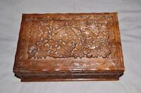 Antique Chinese large foliate carved Jewel box quality 29 cm x 18 cm x 10 cm