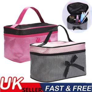 Striped & Polka Dot Women Cosmetic Make-Up Bag Nail Varnish Storage Orangizer UK
