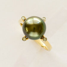 TAHITIAN PEARL RING 10.8mm CULTURED PEARL REAL DIAMONDS 14K 585 GOLD SIZE O NEW