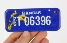 1981 Kansas Bicycle License Plate vintage stingray krate fastback accessory blue