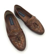 Georgio Brutini Men's Genuine Leather Weave Tassel Loafers Brown Shoes Size 8 D