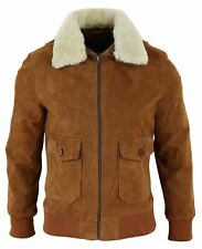 Mens Real Suede Aviator Bomber Jacket Removable Collar Jet Pilot Jacket Classic