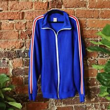 Vintage 70s Track Warmup Jacket Red White Royal Blue Made In USA Retro Large