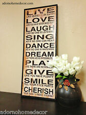Large Distressed Wood Sign Wall Decor Antique Vintage Shabby Plaque Inspired