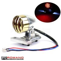 Motorcycle Retro Brass LED Taillight With License Plate Light For Harley Chopper