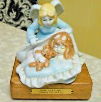 Vintage Now I Lay Me Down To Sleep Musical Angel & Child Figurine