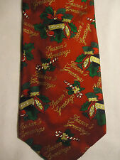 """Holidays Red Green White Gold Christmas Balls Candy Canes Silk Tie 57.5"""""""