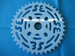 """SE Bikes BMX Chainring 39 Tooth with/Adapter 1/8"""" Steel Blue - New"""