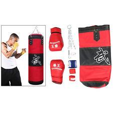 Sturdy Boxing Sandbag & Gloves Empty Karate Fitness Kickboxing Punching Bag