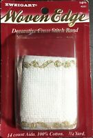 "Zweigart's Woven Edge Stitch Band 14 count Gold Bows 2 1/2"" x 24""  Cross Stitch"