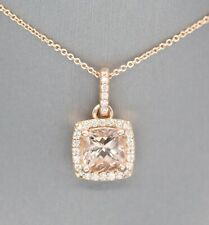 14k Rose Gold Morganite and Diamond Oval Pendant Necklace 18""