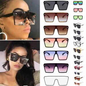 Oversized Square Designer Sunglasses Women Flat Top One Piece Shade Mirror UV400