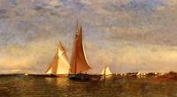 "Oil painting Francis A. Silva - Fishing Boats on Jamaica Bay free shipping 36"""
