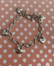 HEARTS Delicate Oval Chain Silver Starter Bracelet Toggle Dream Love Laugh