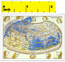 Miniature  MEDIEVAL Ptolemy  World  Map Print  - Dollhouse 1:12 Scale