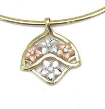 14K TRICOLOR PINK ROSE YELLOW WHITE GOLD HAWAIIAN PLUMERIA FLOWER SLIDER PENDANT