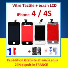 ECRAN LCD VITRE TACTILE SUR CHASSIS POUR IPHONE 4 / 4S NOIR ou BLANC + OUTILS