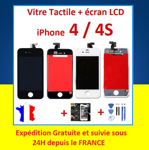 LCD Touch Glass On Frame For IPHONE 4/4S Black or White +Tools