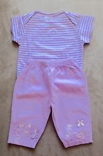 """SIZE 00 - NEW STRIPED BABY GIRLS T-SHIRT & AS NEW """"'BABY WORLD """" LILAC PANTS"""