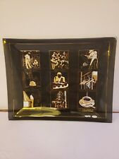 VTG Mid Century Superior Coffee Illustrated Smoked Glass Tray