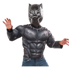 Kids Black Panther Muscle Chest Shirt & Mask Set