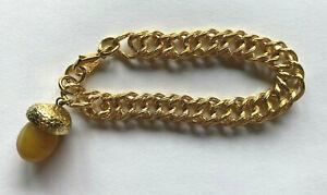 "Chunky Vintage Monet Gold Tone Bracelet with Large Acorn Charm 8"""