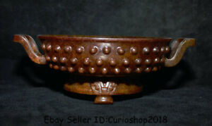 """8.8"""" Old Han Dynasty Hetian Red Jade nephrite Carved Handle Plate Tray vessel"""