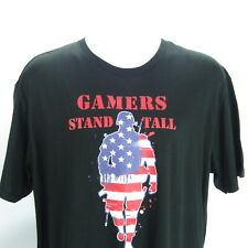 Gamers Stand Tall These Colors Don't Run T Shirt 2XL Flag Soldier Military Theme