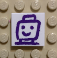 Lego New White Tile 2 x 2 with Dark Purple Drawing of Minifigure Head Shoulder N