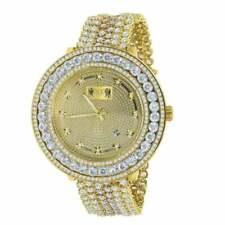 Real Diamond Gold Tone Finish 2 Tone White Removable Bezel Band Mens Wrist Watch