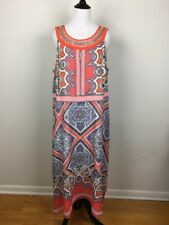 Studio One New York Dress Size 14W Coral White Silver Cocktail Party Resort Wear