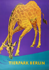 Tierpark Berlin Plakat Original sehr guter Zustand vintage Poster Zoo Giraffe