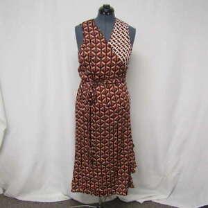 Diane Von Furstenberg Women's US XL Moira Geo Tiles Wrap Dress Red/Multi
