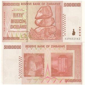 Billion Zimbabwe Billet Dollar de Banque - 2008, Aa [ 10,20,50,100 Trillion]