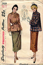 1940's VTG Simplicity Misses' Suit  Pattern 2939 Size 14