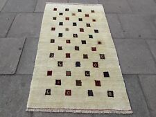 Traditional Tribal Hand Made Persian Gabbeh Oriental Cream Wool Rug 179x109cm
