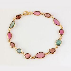 18K Yellow Gold Tourmaline Gemstone Chain Bracelet GIft For Woman WeddingJewelry