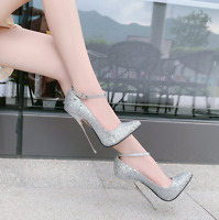 Women Glitter Super High Heel Pointy Toe Prom Stiletto Ankle Strap Buckle Shoes